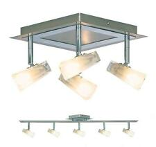 Searchlight Mondes Light Ceiling Spotlight Satin Silver Polished Chrome & Glass