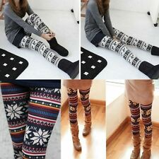women knitted Nordic Snowflake Reindeer Xmas Deer warm Leggings Tights Pants