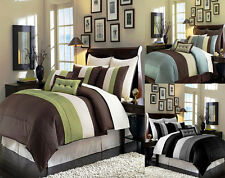 8 Pieces Luxury Stripe Comforter Set/Bed-in-a-bag or Duvet Cover Set