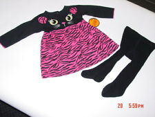 NWT Infant Girl's 2 pc Tiger Kitty Cat Outfit Dress Tights Pink Black