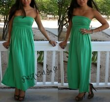 SEXY GREEN RUCHED BUST SIDE TUBE BOHO MAXI TUBE DRESS SUNDRESS S M L XL