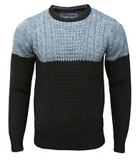 Soul Star Pepper Men's Crew Neck Cable Knit Two Tone Jumper Top brown/grey 2010