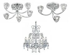 Searchlight Prague Sculptured Ice Crystal Glass Silver Ceiling Light Chandelier