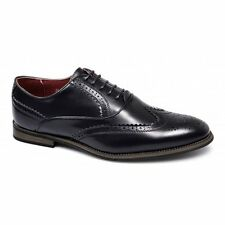 Giovanni Mens Faux Leather Brogue Lace-Up Comfy Formal Evening Dress Shoes Black