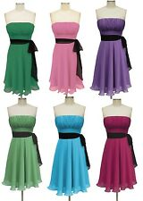 Formal Bridesmaid Wedding Party Prom Cocktail Pleated Short Dress XS-2XL