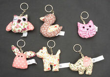 NEW PADDED FABRIC FLORAL ANIMAL SPAPED KEYRINGS CHOICE OF 6
