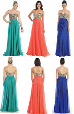 Strapless Long Ball Gown Dress Party Gala Prom Evening Pageant