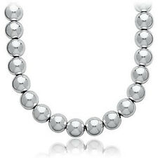 "BEAD BALL NECKLACE HOTTEST TREND CELEBRITY.925 STERLING SILVER 16"" -18"" 5mm-10mm"