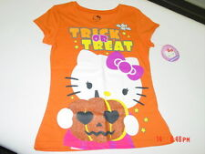 NWT Girls Hello Kitty Trick or Treat Halloween Themed Tee Shirt Top Glitter Bat