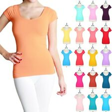 High Quality Seamless Solid Cap Sleeve T Shirt Top Ultra Stretch Soft ONE SIZE