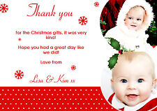 10 Personalised Christmas Greeting Thank You Cards Photos Multiple Red Snowflake