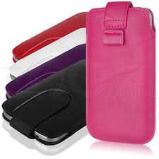 PU LEATHER POUCH COVER CASE WITH SECURE PULL-TAB FASTEN FOR SAMSUNG GALAXY ACE 3