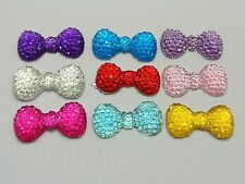 50 Bowknot Bows Flatback Resin Dotted Rhinestone Gems 23X12mm Pick Your Color