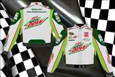 Dale Earnhardt Jr Nascar Jacket Diet Mountain Dew Grey Green Twill