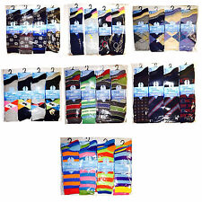 12 Pairs Of Mens Designer Socks, Cotton Rich Lycra Design Socks lot uk size 6-11