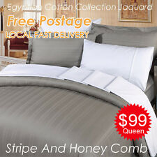 Egyptian Cotton Honeycomb Stripe Jacquard Quilt/Doona/Duvet Cover+Pillowcase Set