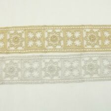 Metallic Venise Trim Lace #245- Embroidered Trim Bridal Wedding Card Decoration