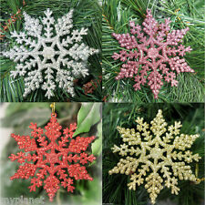 6 x GLITTER SNOWFLAKE SHAPE STRING HANGING CHRISTMAS TREE XMAS WINDOW DECORATION