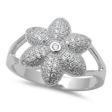 CUTE! PAVE SET CZ FLOWER .925 Sterling Silver Ring SIZES 6-9