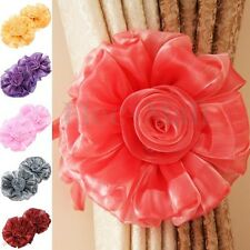Pair Clip-on Rose Flower Curtain Tie Backs Tieback Holder Voile Net Drape Panel