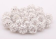10Pcs 10mm Rhinestone Crystal Ball Disco Beads Spacer Findings Many Color
