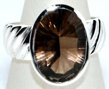 925 Sterling SILVER Solitaire Rings Smoky Quartz Ring NEW Sizes L to Y; 5½ to 12