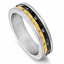 BLACK AND YELLOW ROMAN NUMERALS 316L Stainless Steel Ring SIZES 7-12