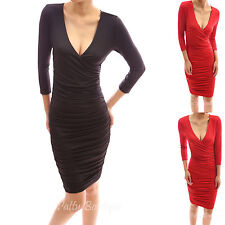 PattyBoutik 3/4 Elbow Sleeve V Neck Faux Wrap Overlay Lined Bodycon Party Dress