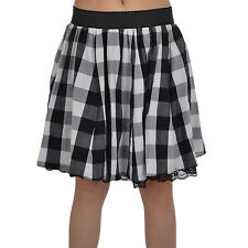 Miss Posh Womens Ladies Check Tartan Knee Length Frill Skirt - Black/White