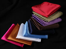 Mens Silk Satin Handkerchief Pocket Square Hanky Plain Solid Color Wedding Party