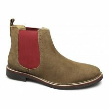 Lucini Mens Suede Leather Brogue Pull-On Casual Ankle Chelsea Boots Tan Brown