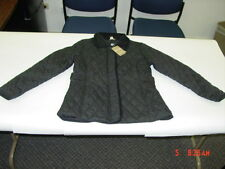 NWT Womens White Stag Quilted Coat Jacket NEW UNUSED Black Corduroy trim