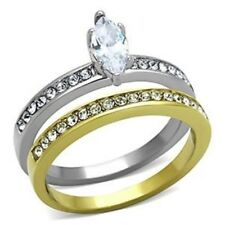 Marquise Cut CZ 2 Tone Gold IP Stainless Steel Wedding Ring Set SZ 5,6,7,8,9,10