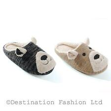NEW*Ladies Teddy Face Knitted/Fleece Grey or Tan Mule Slippers in 3 sizes