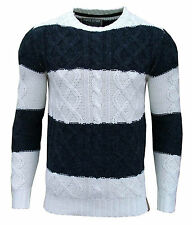 Soul Star Ham 1 Men's Striped Crew Neck Cable Knit Two Tone Jumper Top navy 2049