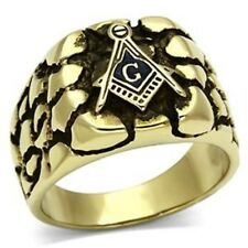 Gold Ion Plated Stainless Steel Designer Rugged Style Mason Mens Ring SZ 8-13