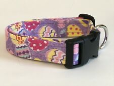 EASTER EGGS ON PURPLE  DOG COLLAR (YOU PICK THE SIZE)