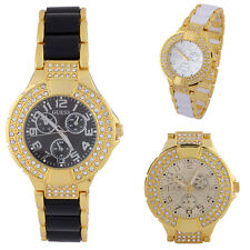 Womens Round Bracelet Watches Bling Crystal Plated Style Watch Life Waterproof