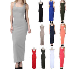 Full Long MAXI DRESS Ribbed Sleeveless Tank Scoop Neck Solid Plain Fitted S M L