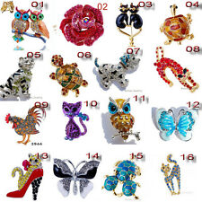 16Styles Enamel Rhinestone Crystal Animal Butterfly Brooch Pin Unisex Party Gift