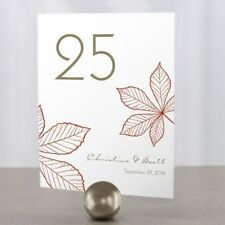 Personalized Autumn Fall Leaf Wedding Table Numbers