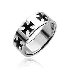 Stainless Steel Black Celtic Crosses Ring Biker Goth Mens Size 9-15