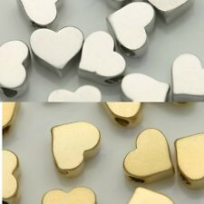 Heart Metal Beads spacer Pendant Gold Silver Jewelry Making Supplies Necklace #2