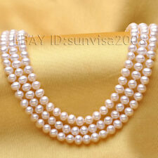 s373 2015 woman's gift 7-8mm Perfect round AAA+ white akoya pearl necklace