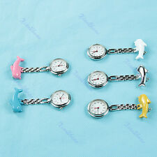 Pendant Dolphin Nurse Clip Fob Pin Hanging Pocket Quartz Watch Fobwatch Brooch
