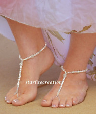 DAZZLE Swarovski Pearls & Clear AB Crystals Barefoot Sandals Silver-Gold accents
