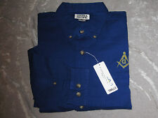 Blue Square Compass Masonic Button Down Twill Dress Shirt Long Sleeve Lodge NEW!