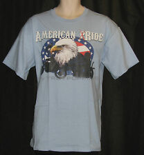 AMERICAN RIDE FLAG EAGLE MOTORCYCLE APPAREL JULY GEAR GRAPHIC PRINTED T-SHIRT