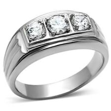 Three Clear CZ style Stainless Steel Never Tarnish Mens Wedding Ring Size 8-13