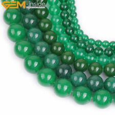 """Round Green Jade Stone Loose Beads For Jewelry Making 15"""" Wholesale Jewelry Bead"""
